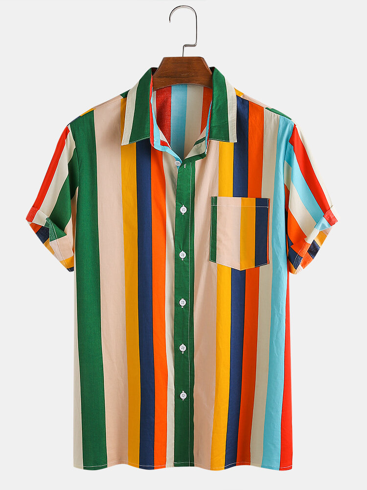 Men 100% Cotton Colorful Striped Holiday Casual Shirt