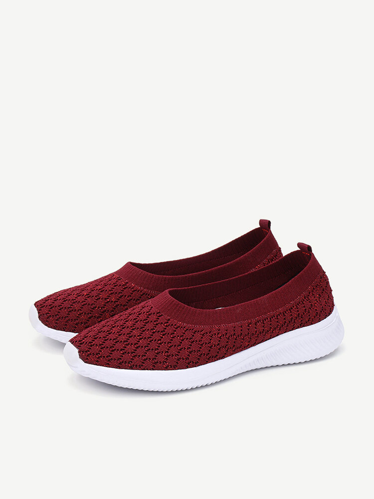 Women Knitted Shallow Comfy Soft Sole Casual Slip On Loafers