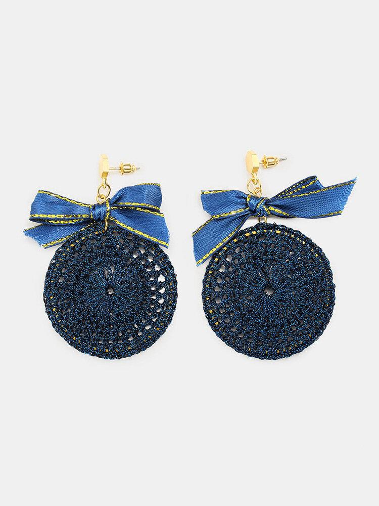Ethnic Bowknot Round Plate Charm Dangle Earrings Braided Vintage Piercing Stud Earrings for Women