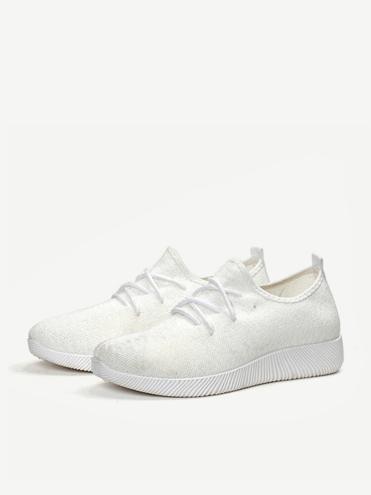 Pure Color Casual Mesh Breathable Slip On Trainers