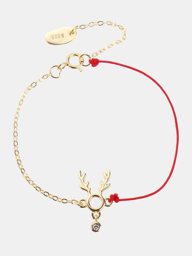 Fashion Lucky Thin Red Rope 925 Sterling Silver Bracelets Elk Deer Zirconia Womens Bracelets