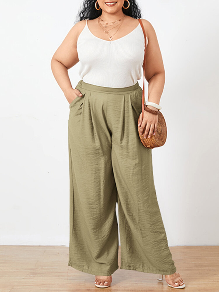 Solid Color Elastic Waist Wide Leg Plus Size Pants with Pockets