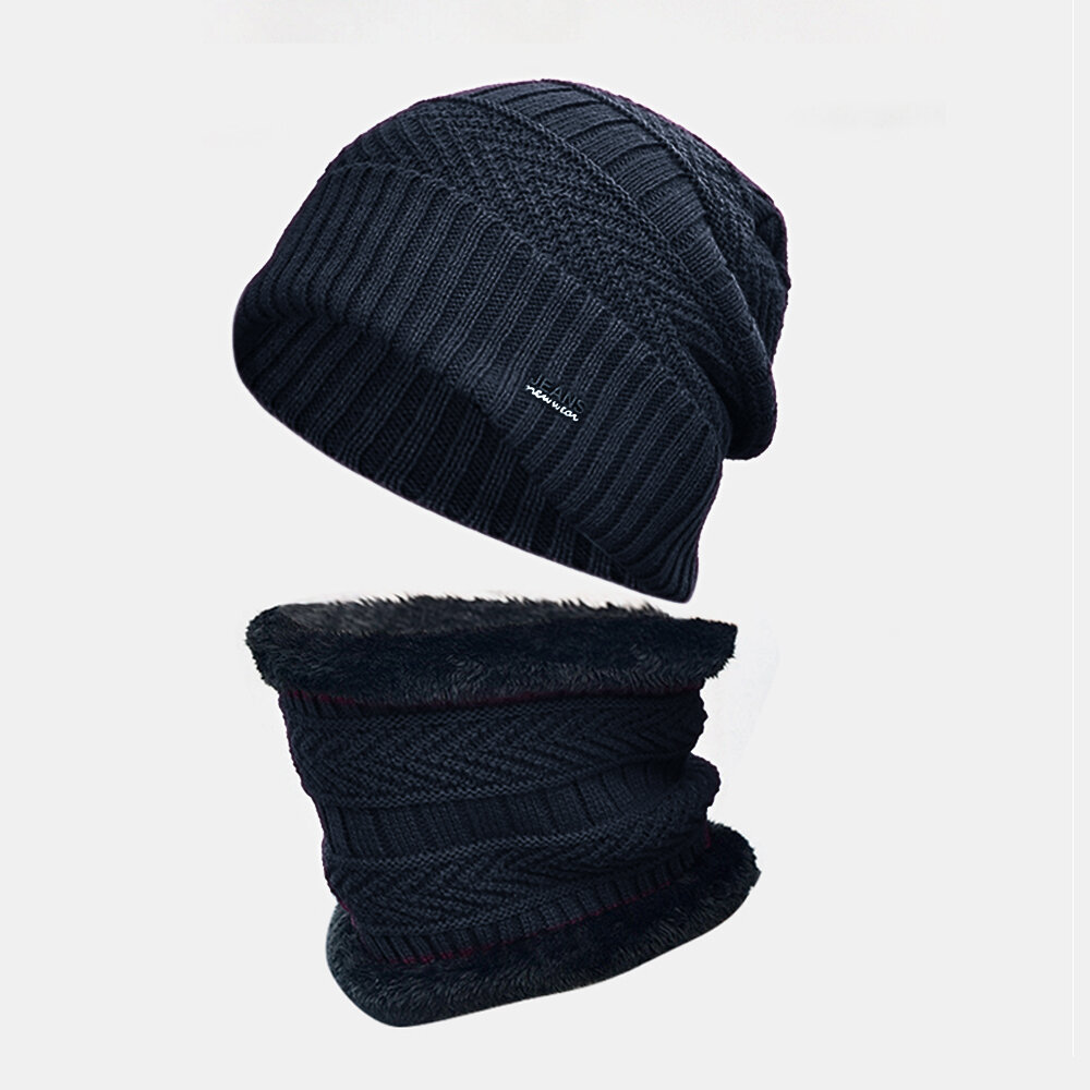 Men Wool Plus Thick Winter Keep Warm Neck Protection Windproof Knitted Hat