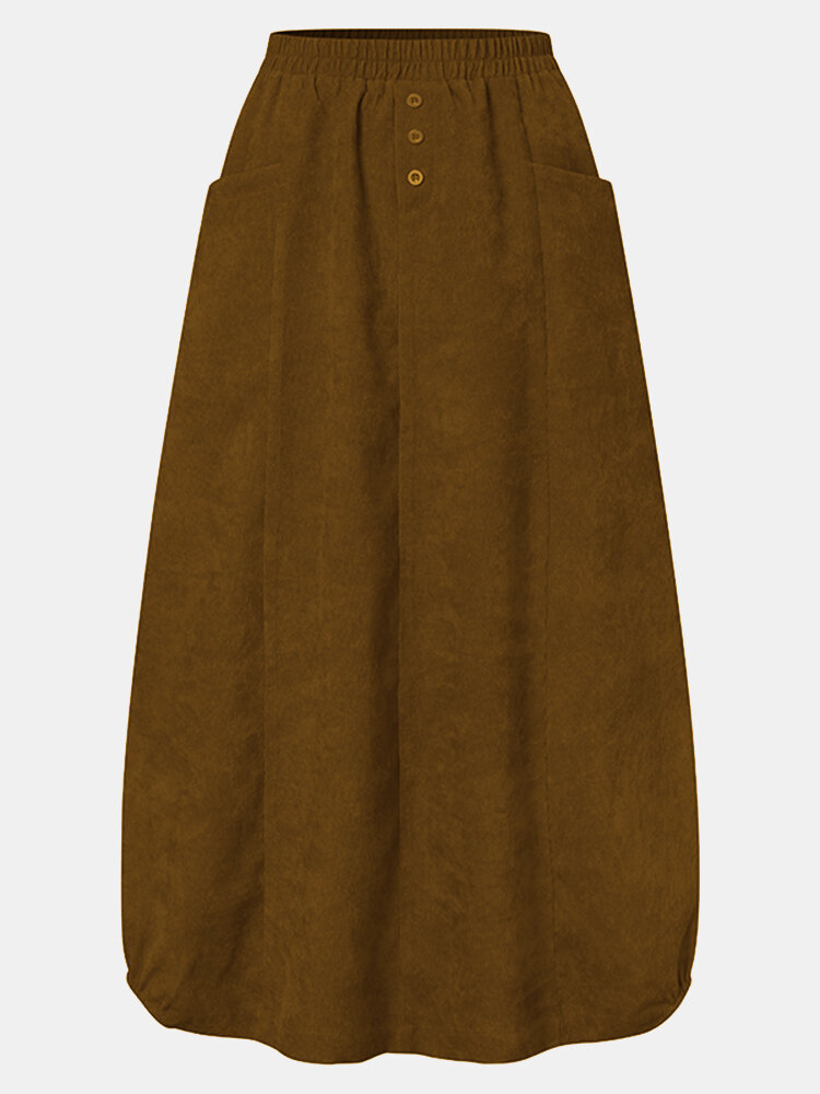 Corduroy Solid Color Elastic Waist Pocket Casual Skirt For Women