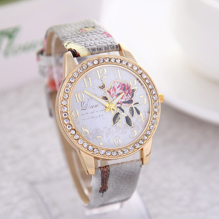 Casual Leather Quartz Chinese Style Wristwatch Peony Pattern Watches Gift for Women