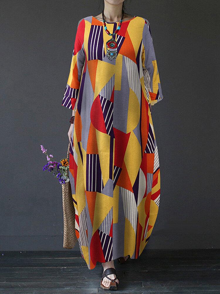 Contrast Color Geometric Print Long Sleeve Vintage Dress For Women
