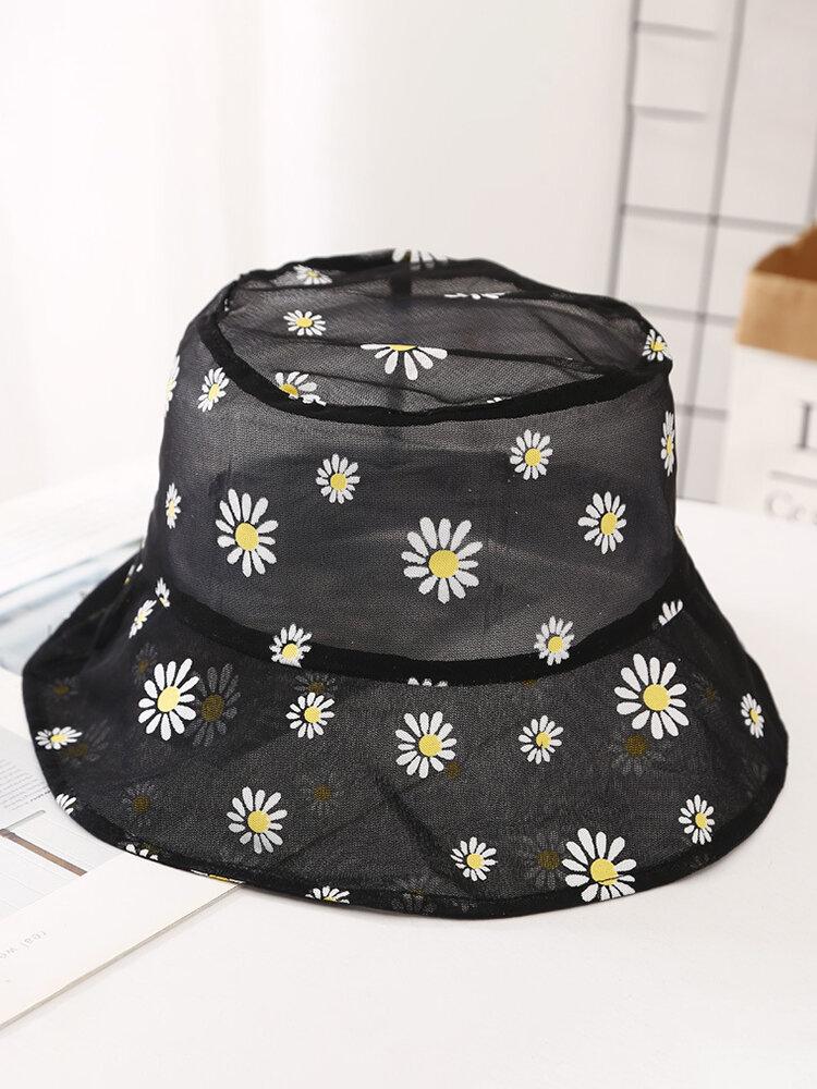 Net Yarn Fisherman Hat Small Fresh Breathable Thin Small Daisy Flower Outdoor Sunscreen Hat