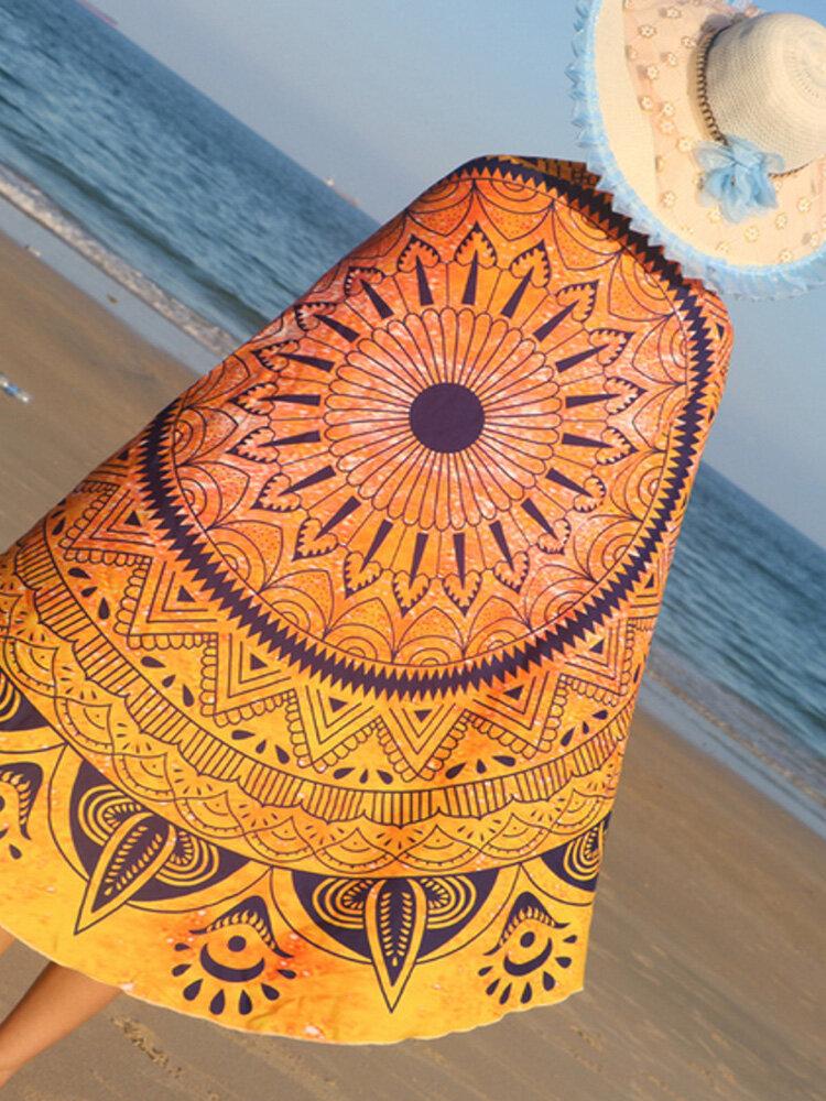 150cm Impresión de Mandala Poliéster Verano Playa Toalla Manta de tapicería de decoración colgante