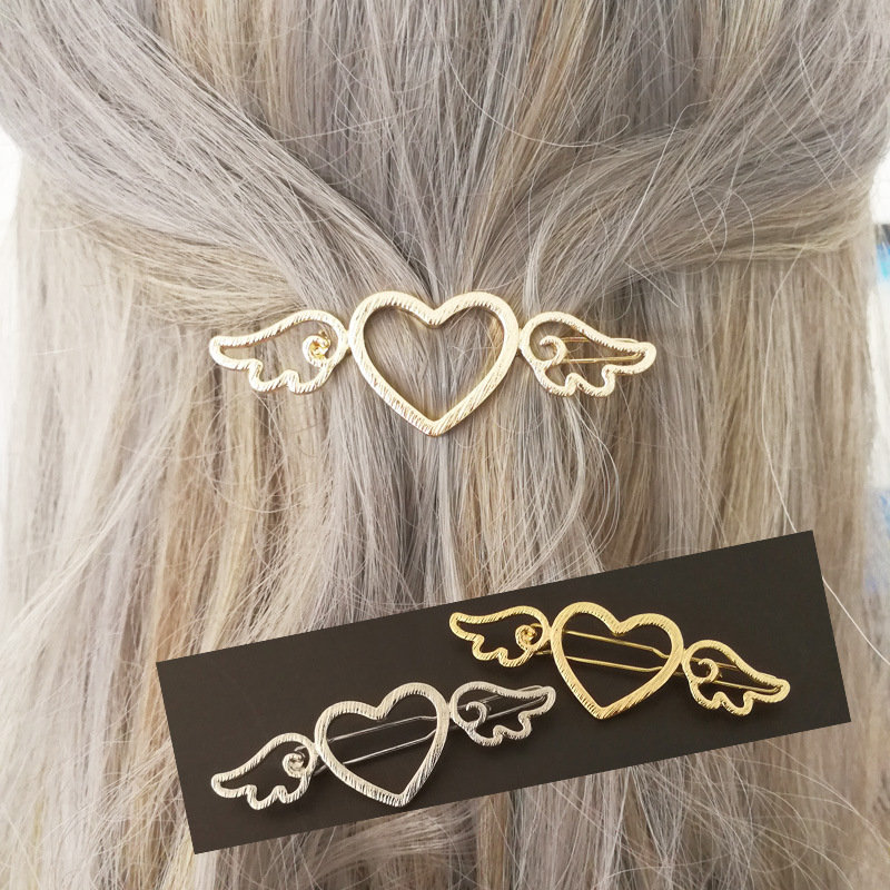 Sweet Lolita Hollow Heart Shape Side Wings Gold Silver Color Hair Clips Hair Accessories for Her