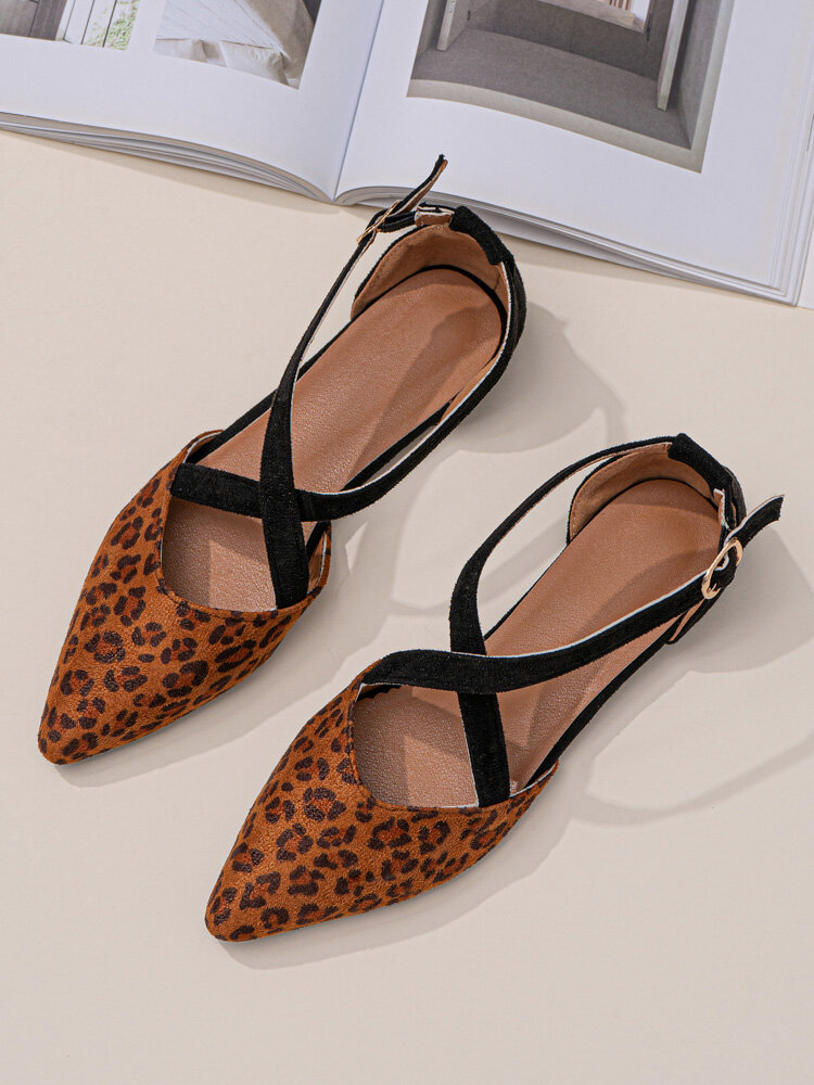 Large Size Women Leopard Suede Casual Cross Strap Flats