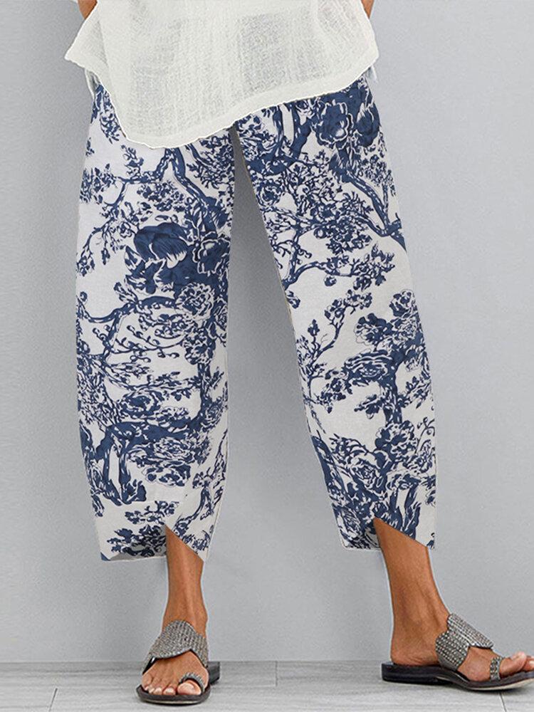 Vintage Chinese Style Elastic Waist Plus Size Women Pants