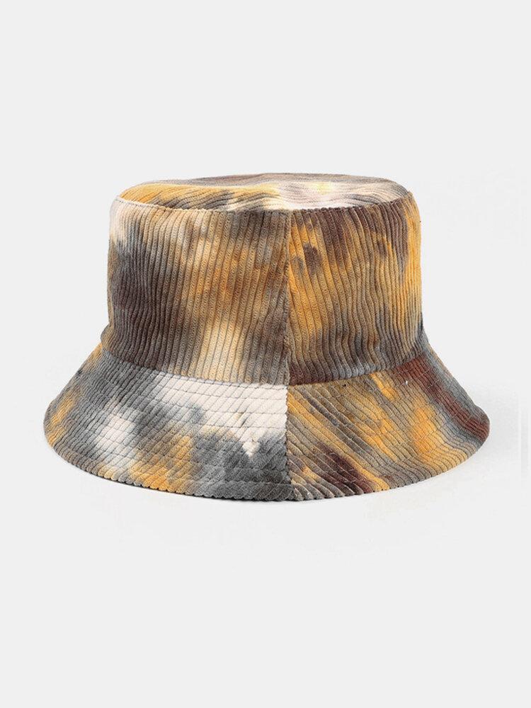 Men & Women Corduroy Tie-dye Double-sided All-match Outdoor Bucket Hat