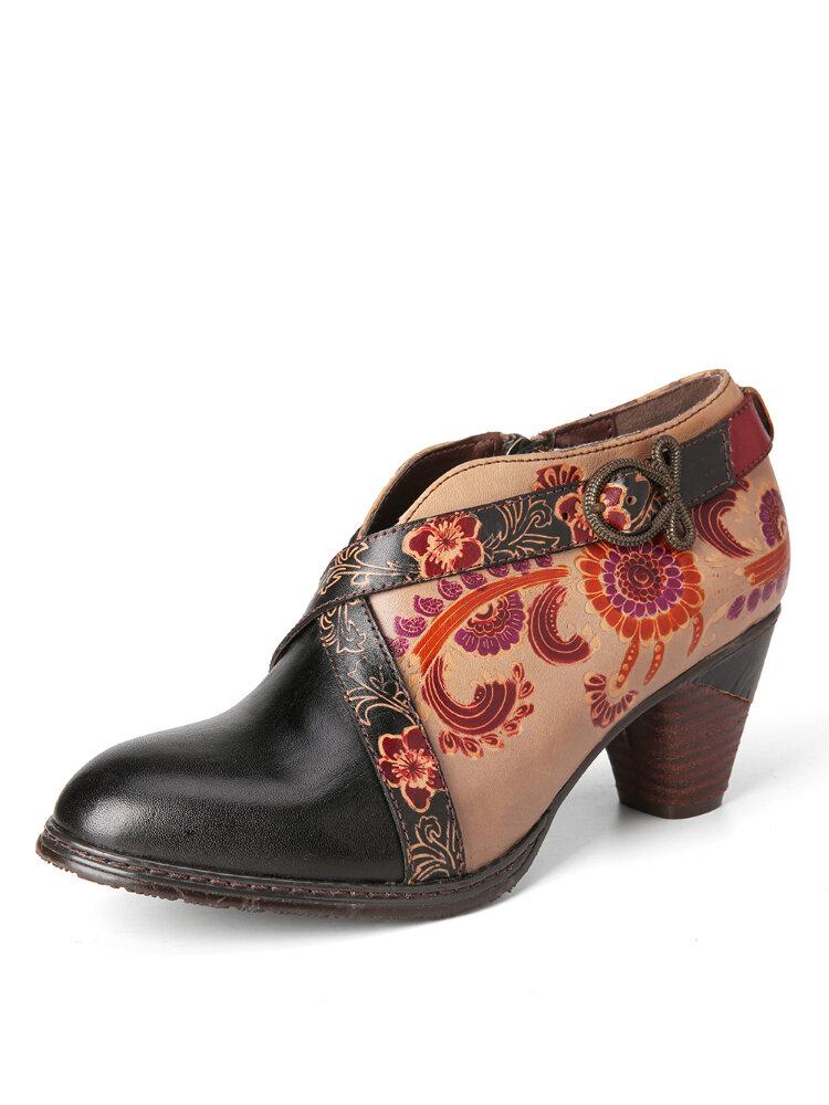 SOCOFY Retro Metal Hebilla Correa Decoración Flores en relieve Cuero Cremallera lateral Zapatos de tacón grueso