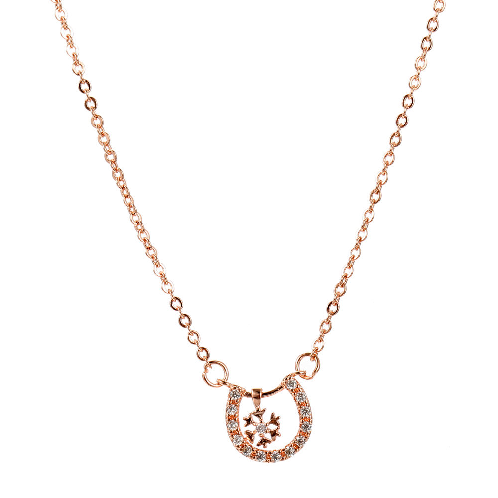 JASSY Classic Rose Gold Necklaces Trendy Geometric Snowflake Pendant Delicate Chain Necklaces