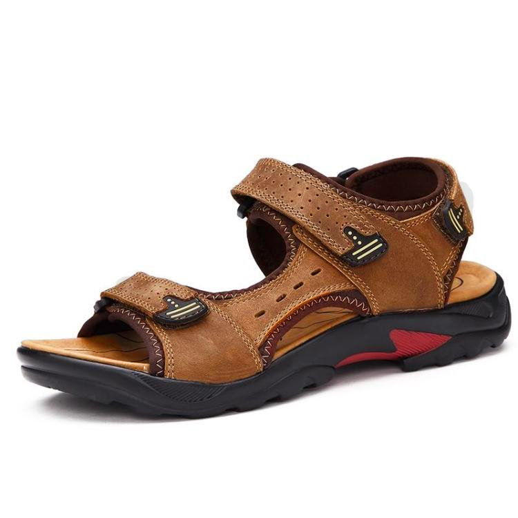 Large Size Men Leather Hook Loop Hollow Out Outdoor Hiking Sandals
