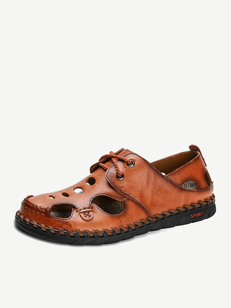 Men Hand Stitching Leather Non Slip Outdoor Soft Sole Casual Sandals