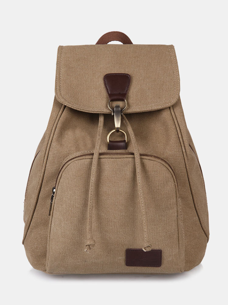 Vintage Canvas Drawstring Large Capacity Travel 15 Inch Multi-Carry Bag Backpack For College Students Men Women