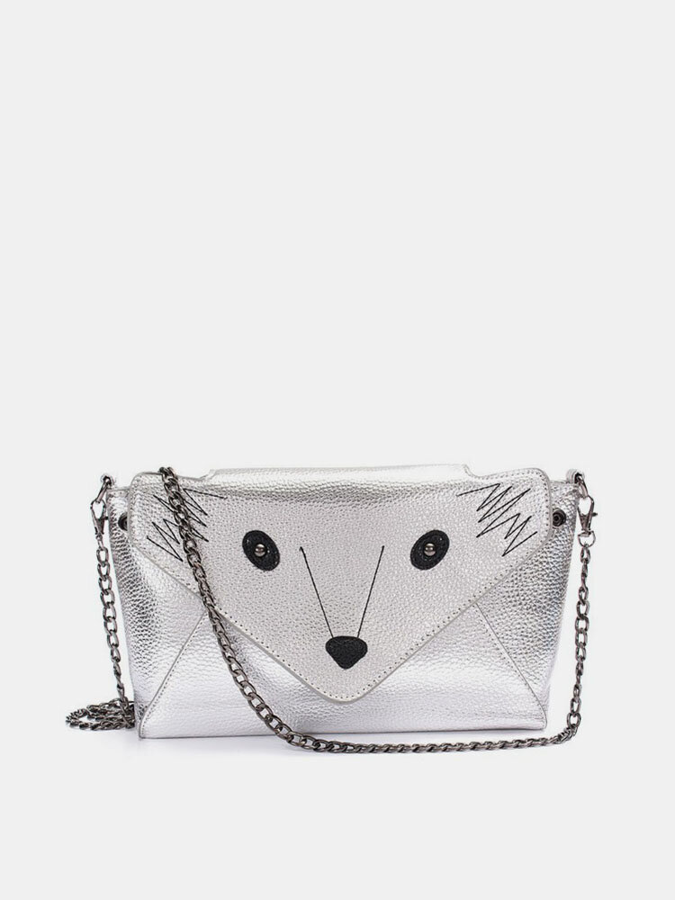 Women Fox Pattern Leather Crossbody Bag