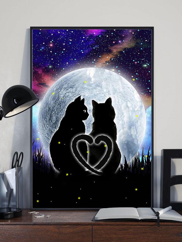Valentine Black Cats Modello Pittura su tela Senza cornice Wall Art Canvas Living Room Home Decor