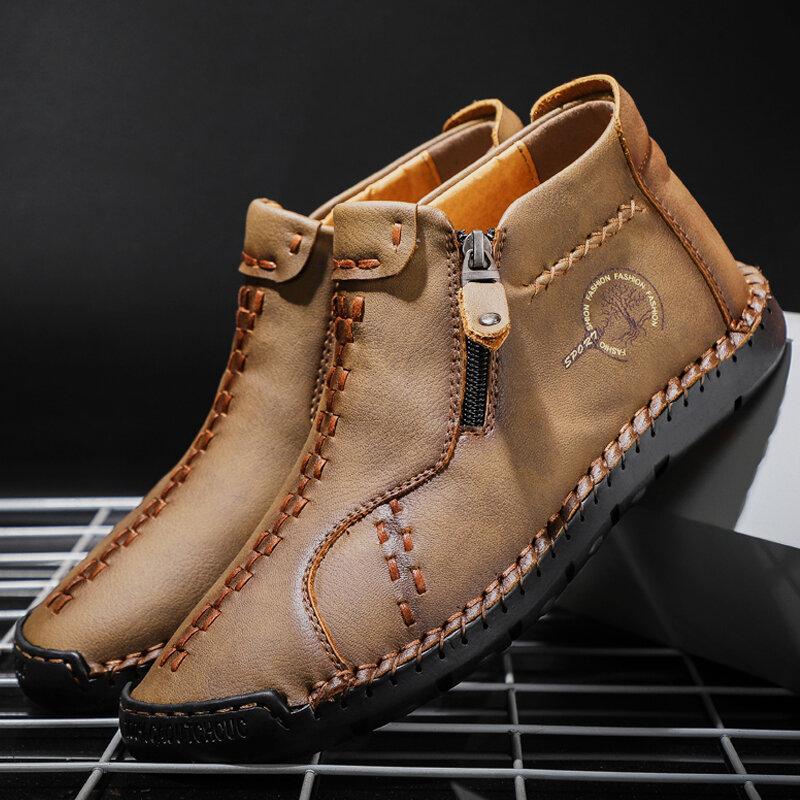 Мужчины Винтаж Ручная вышивка из микрофибры Кожаная боковая молния на щиколотке Ботинки