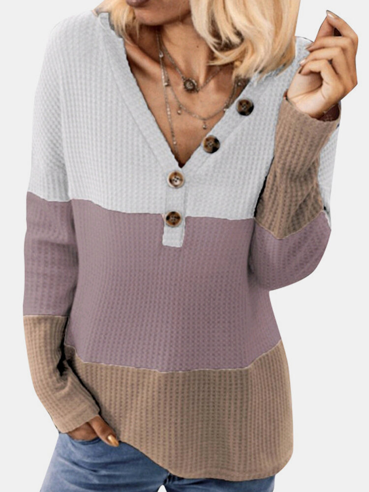 Casual Knit Patchwork V-neck Button Plus Size Sweater