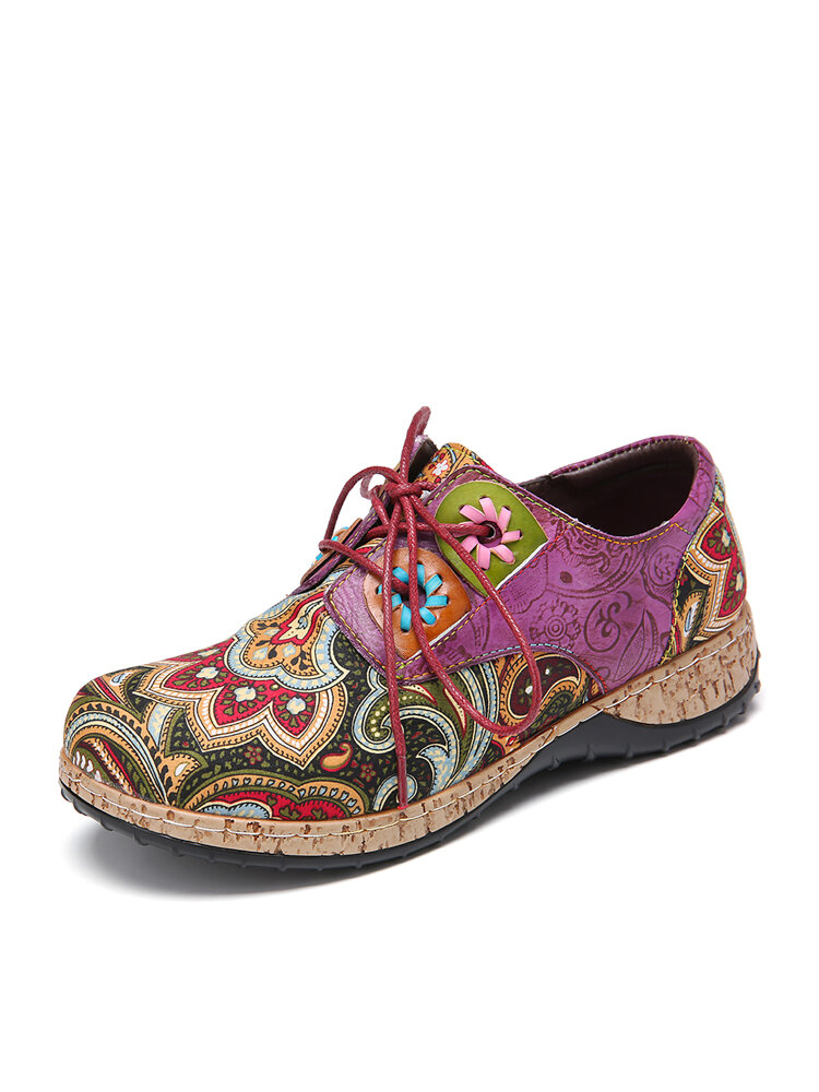 SOCOFY Folkways Pattern Leather Splicing Comfy Lace Up Flats