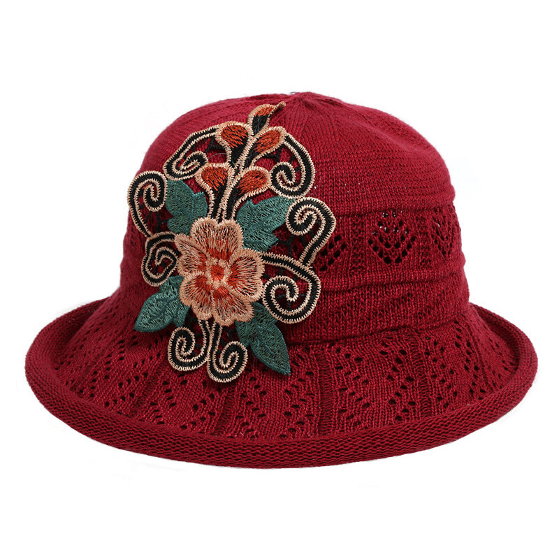 Women Cotton Linen Breathable Foldable Bucket Hat Ethnic Embroidered Style Vintage Fisherman hat