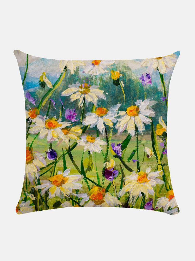 Floral Overlay Print Pattern Leinen Kissenbezug Home Sofa Art Decor Throw Kissenbezug