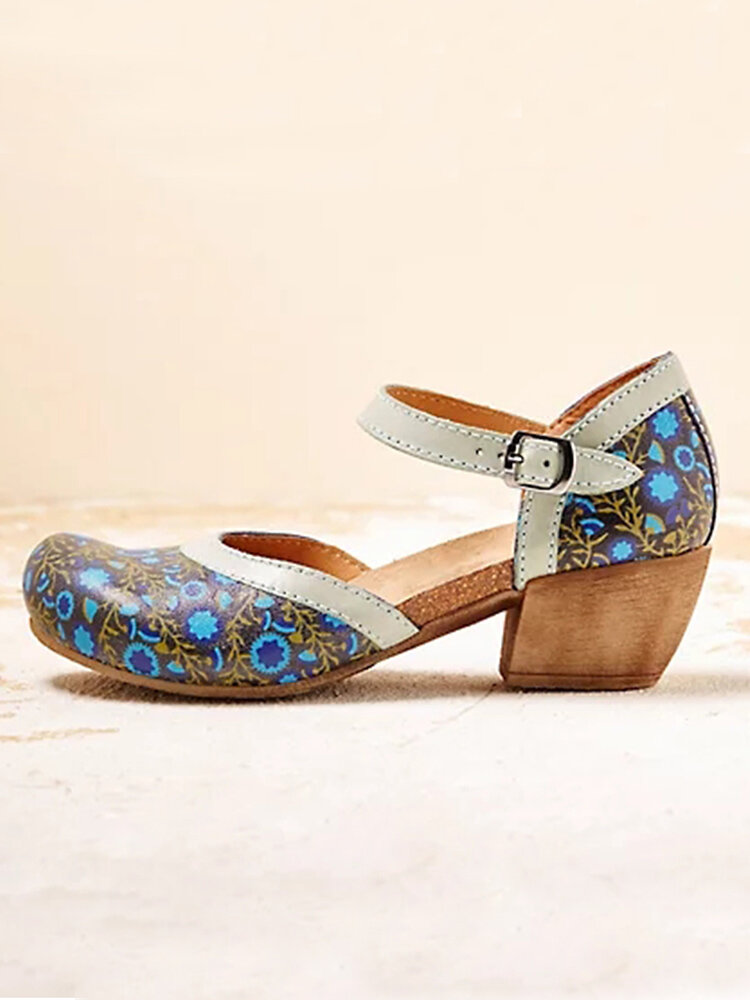 Large Size Women Floral Printing Buckle Chunky Heel Mary Jane Pumps