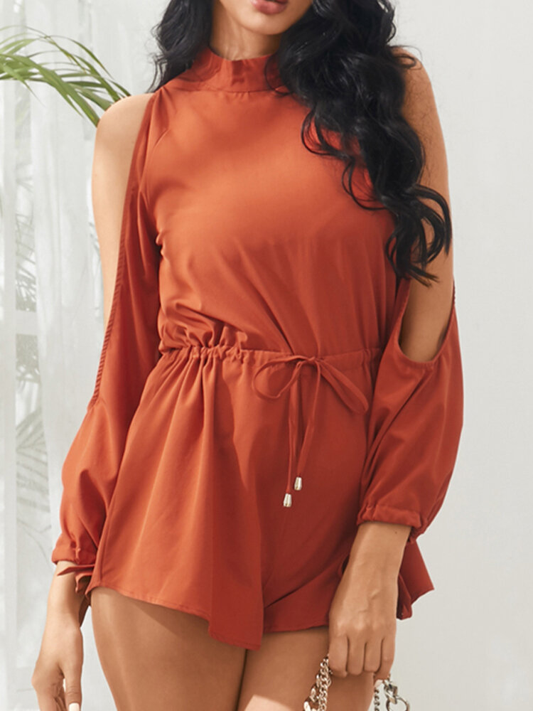 Solid Color Off-shoulder Drawstring Knotted Casual Romper for Women
