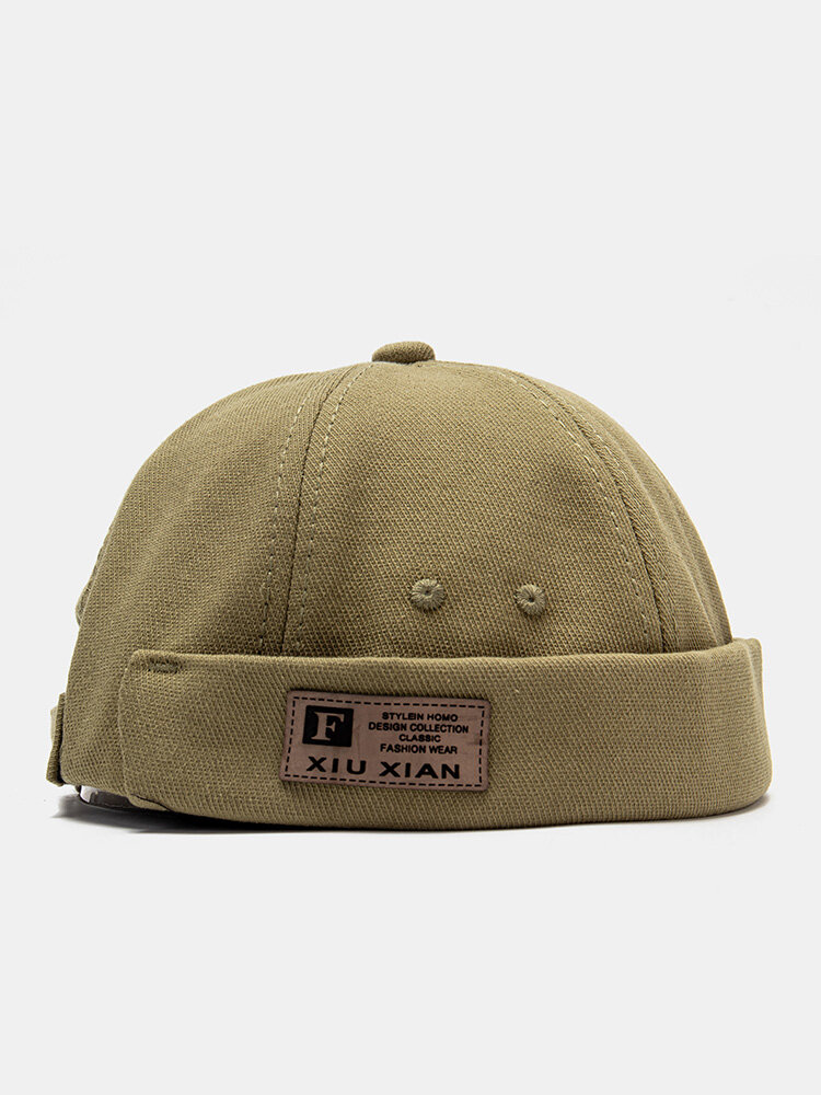 Unisex Cotton Solid Color Letter Fashion Outdoor Brimless Beanie Landlord Cap Skull Cap