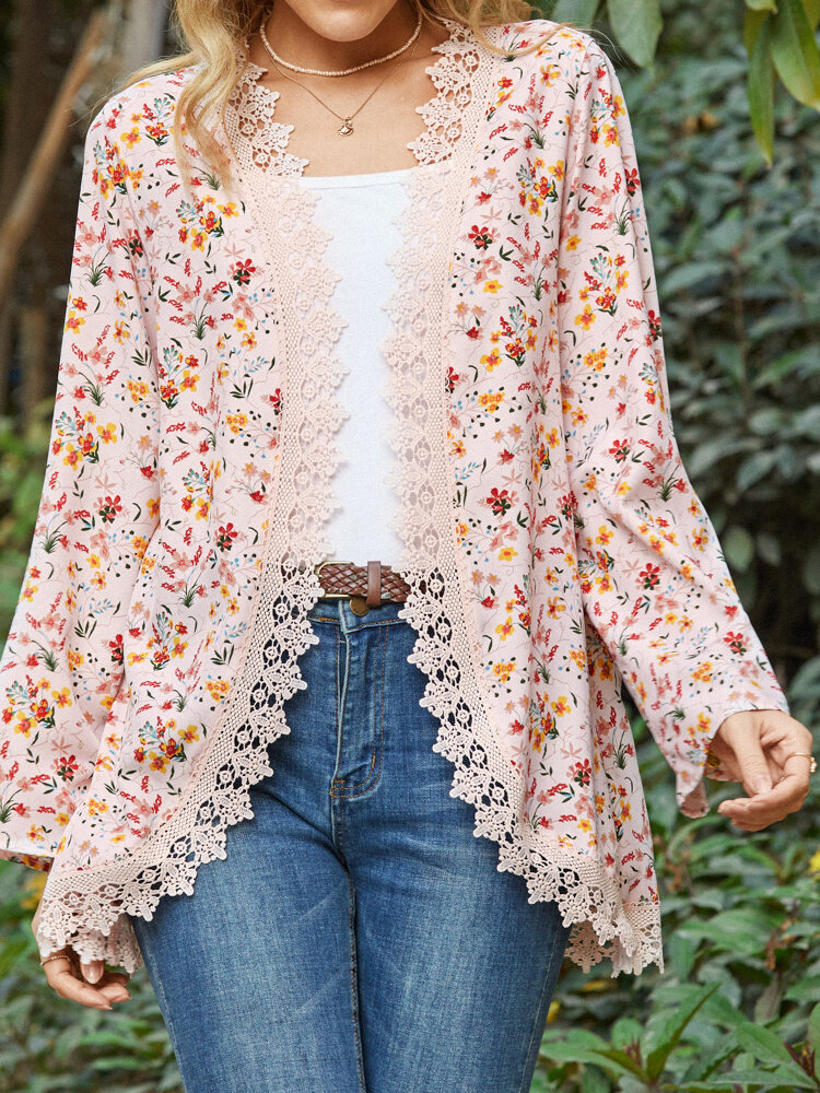 Floral Print Lace Opening Long Sleeve Plus Size Jackets for Women