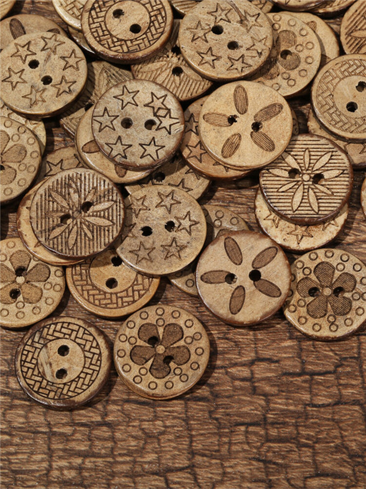50Pcs Coconut Shell Sewing Buttons Retro Style Black and Brown Color Decoration Buttons