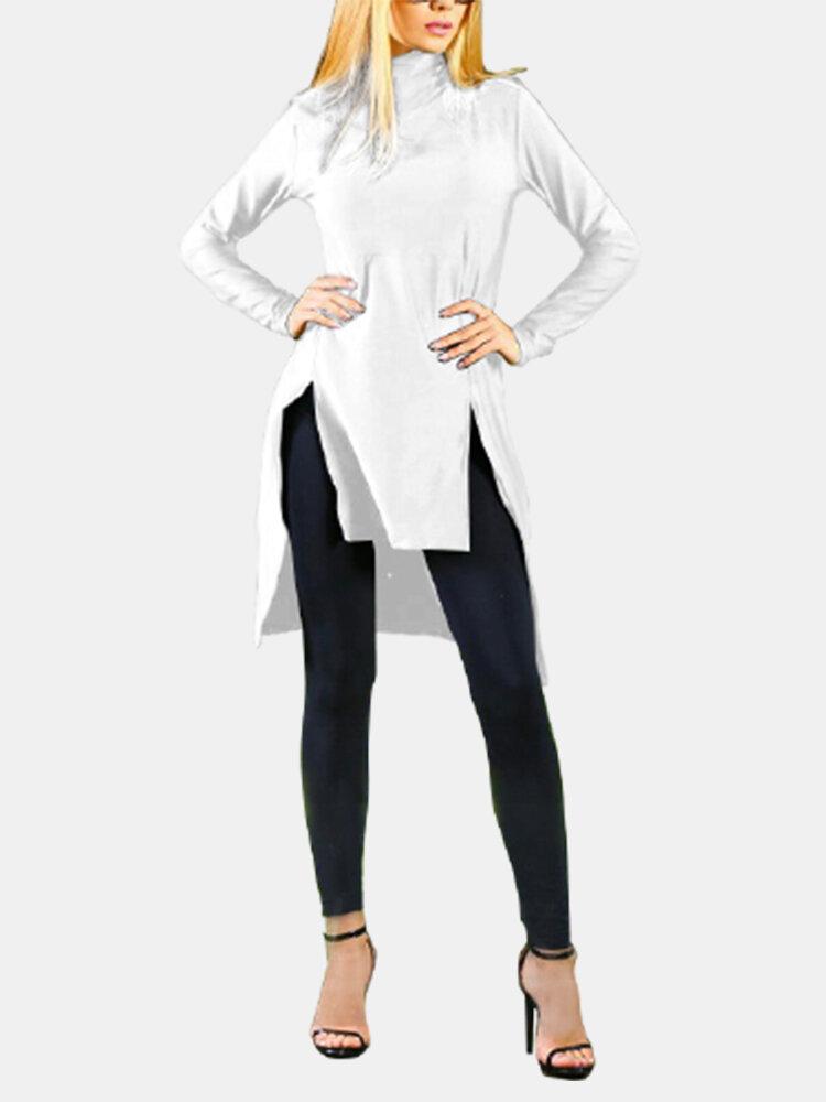 Asymmetrical Split Hem High-neck Casual Plus Size Blouse