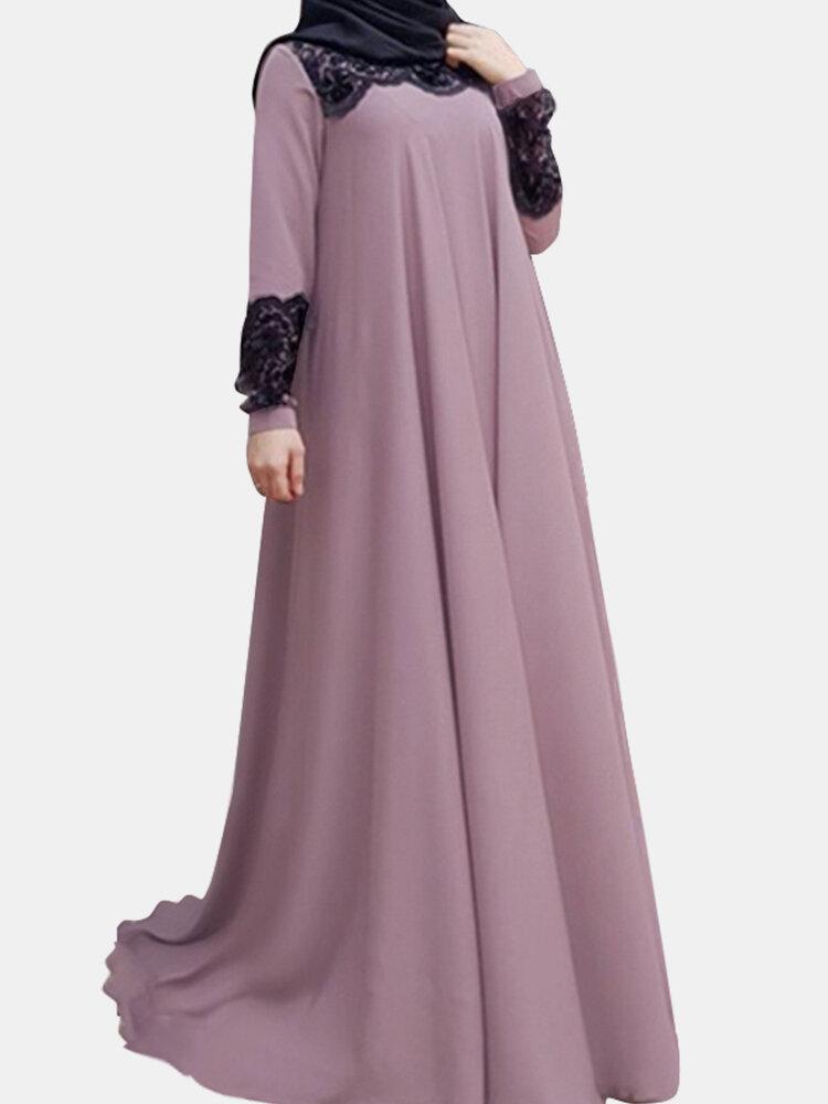 الصلبة اللون الدانتيل المرقعة فستان مسلم سوينغ كبيرة للنساء