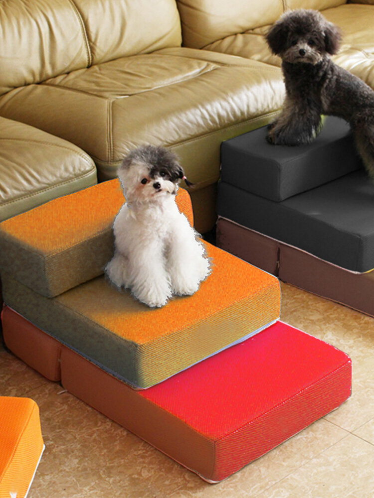 Portable 2-Steps Dog Cat Pet Stairs Ramp Ladder Animals Mat Mattress Bed Detachable Cover