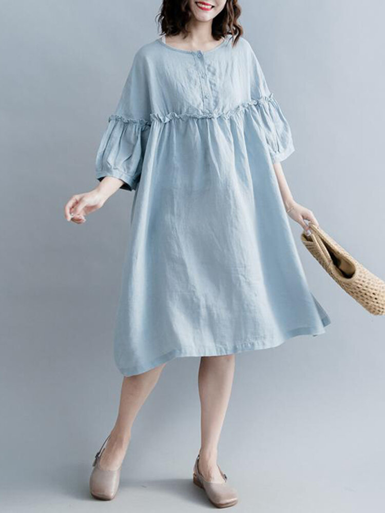Fungus Solid Color O-neck Button 3/4 Length Sleeve Loose Dress