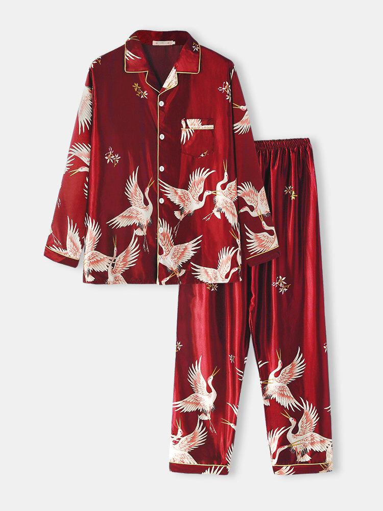 Men Comfortable Faux Silk Flying Crane Printing Lapel Two Pieces Long Sleeve Pajamas Sets