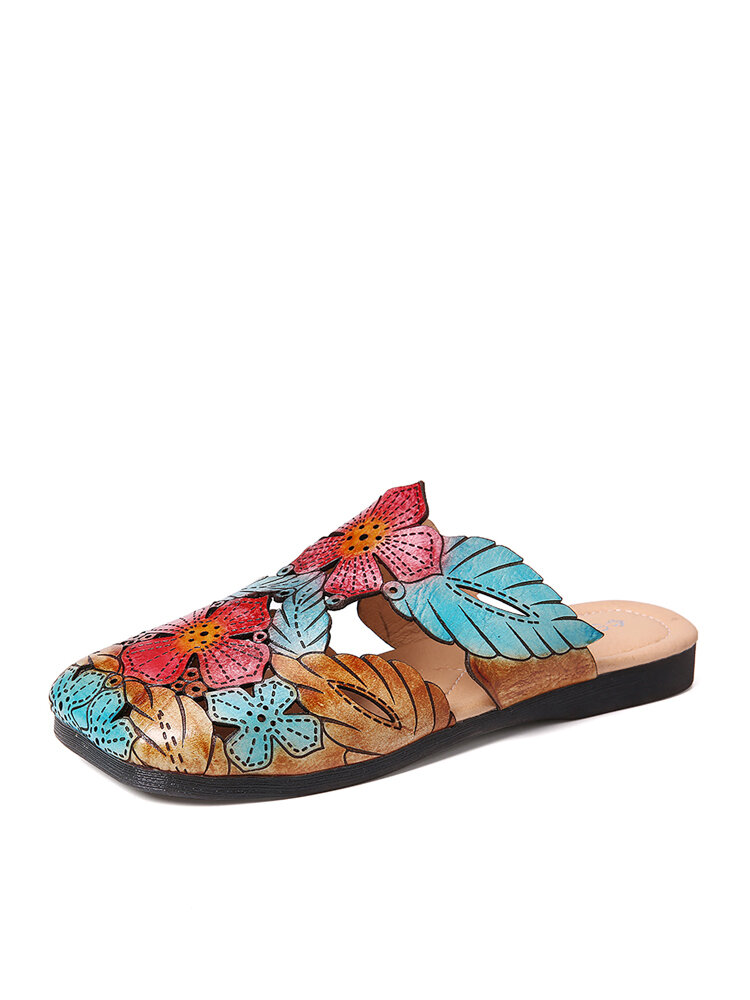 SOCOFY Retro Leather Bohemia Splicing Floral Leaves Soft Square Toe Slippers