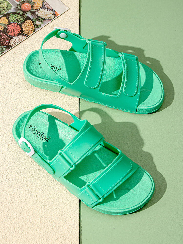Women Candy Colors Soft Comfy Buckle Sports Beach Sandals