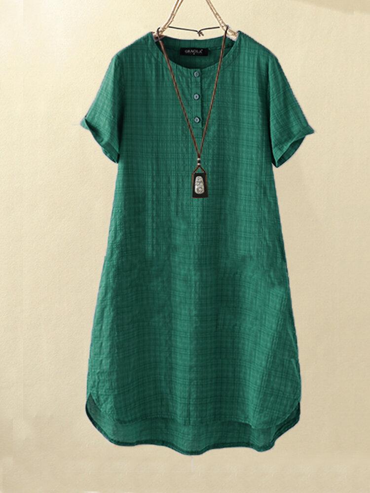 Vintage Solid Plaid Kurzärmeliger loser Knopf Kleid
