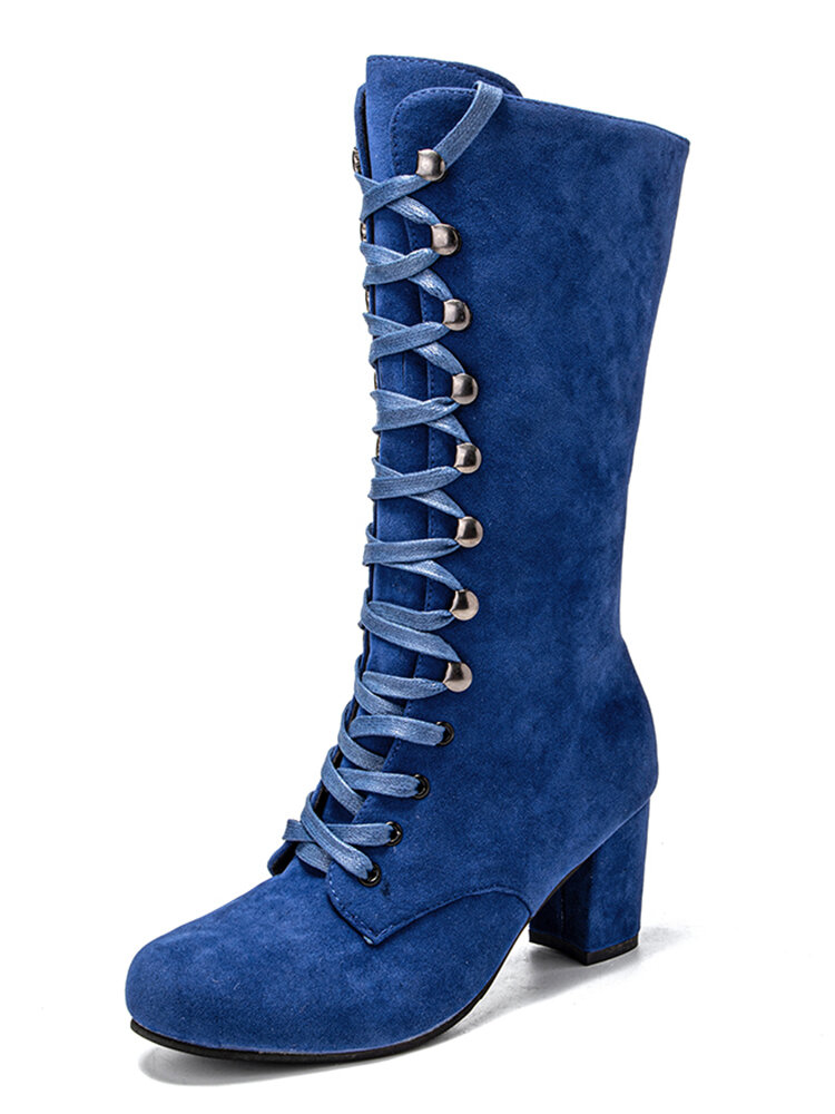 Women's Round Toe Lace Up Suede Chunky Heel Knee Riding Boots