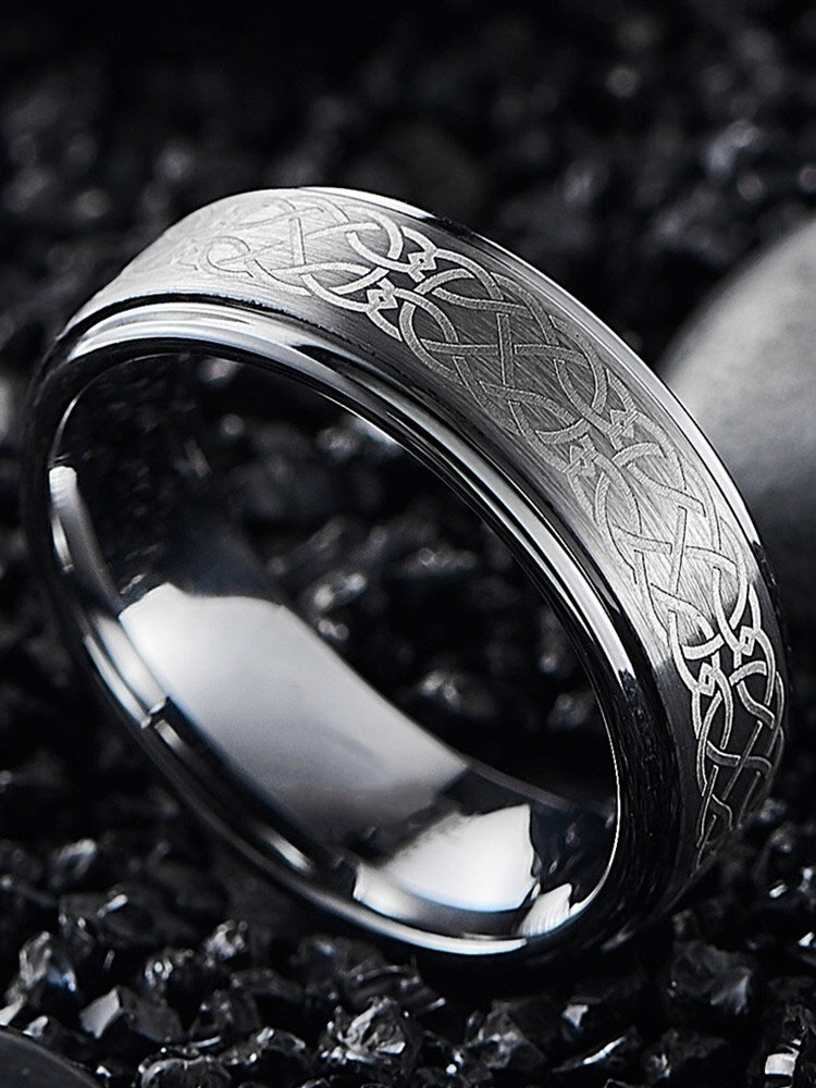 Trendy Simple Laser Pattern Geometric-shaped Alloy Ring