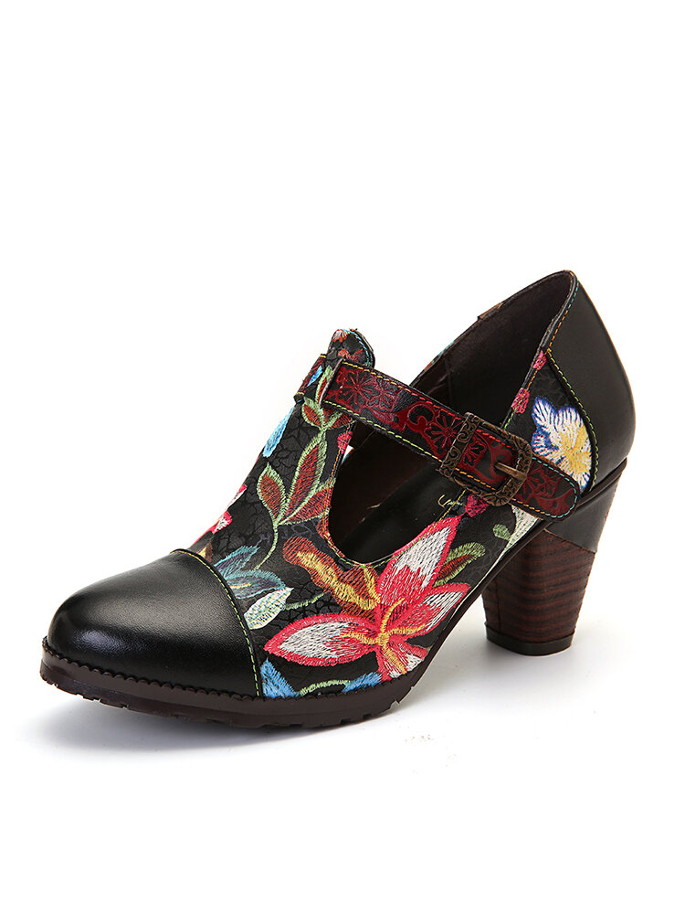 SOCOFY Folkways Colorful Flowers Stitching Genuine Leather Retro T-Strap Dress Pumps For Women