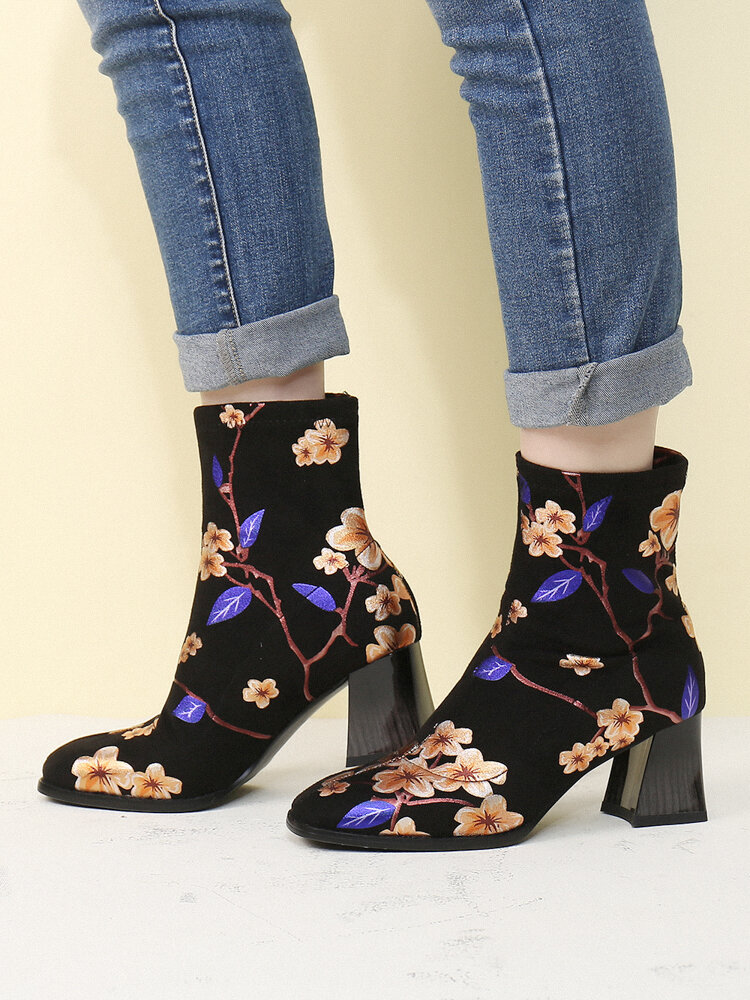 SOCOFY Fashion Flowers Printed Suede Warm Lined Elastic Slip On Chunky Heel Short Boots