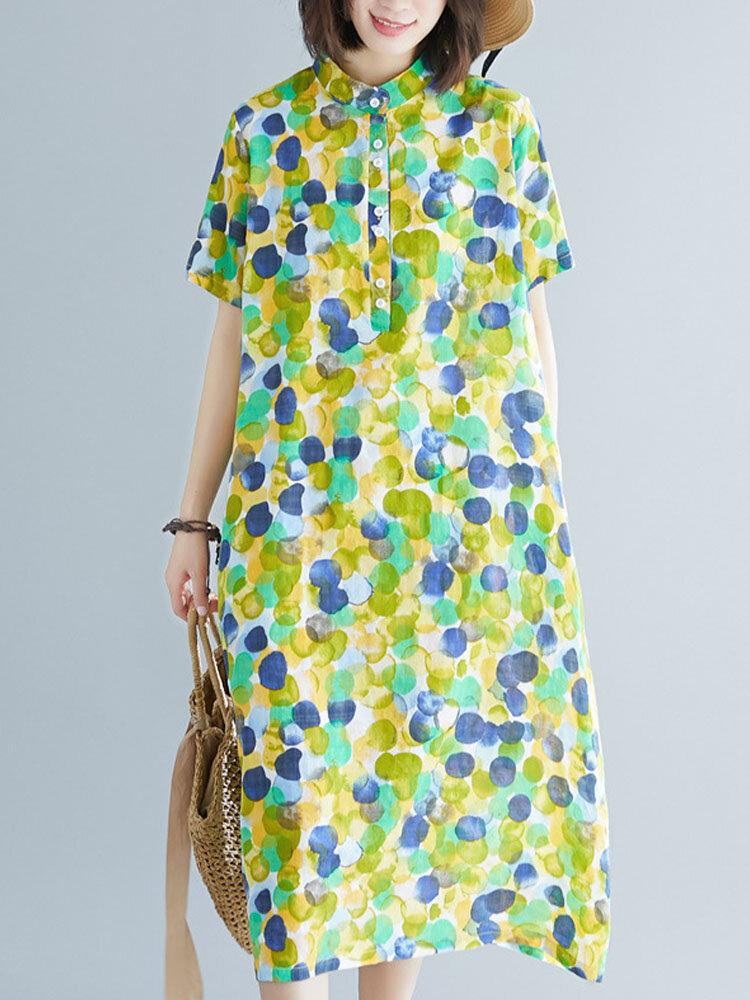 Ink Dot Print Mandarin Collar Plus Size Button Front Dress