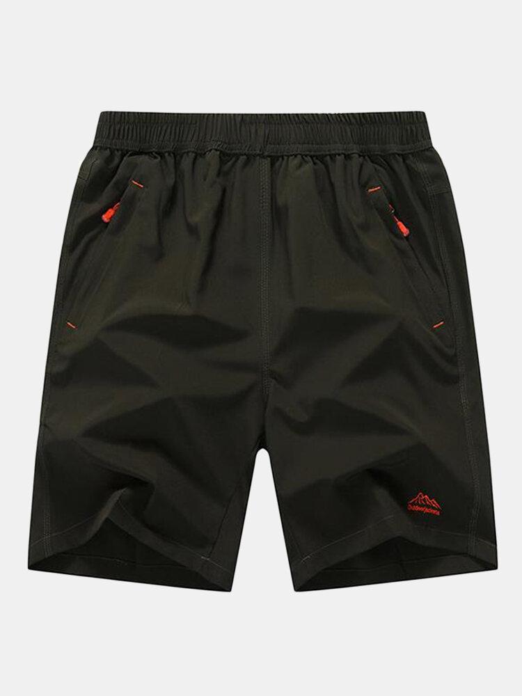 Mens Plus Size Solid Color Beach Shorts Quick Dry Elastic Waist Sports jogging Shorts