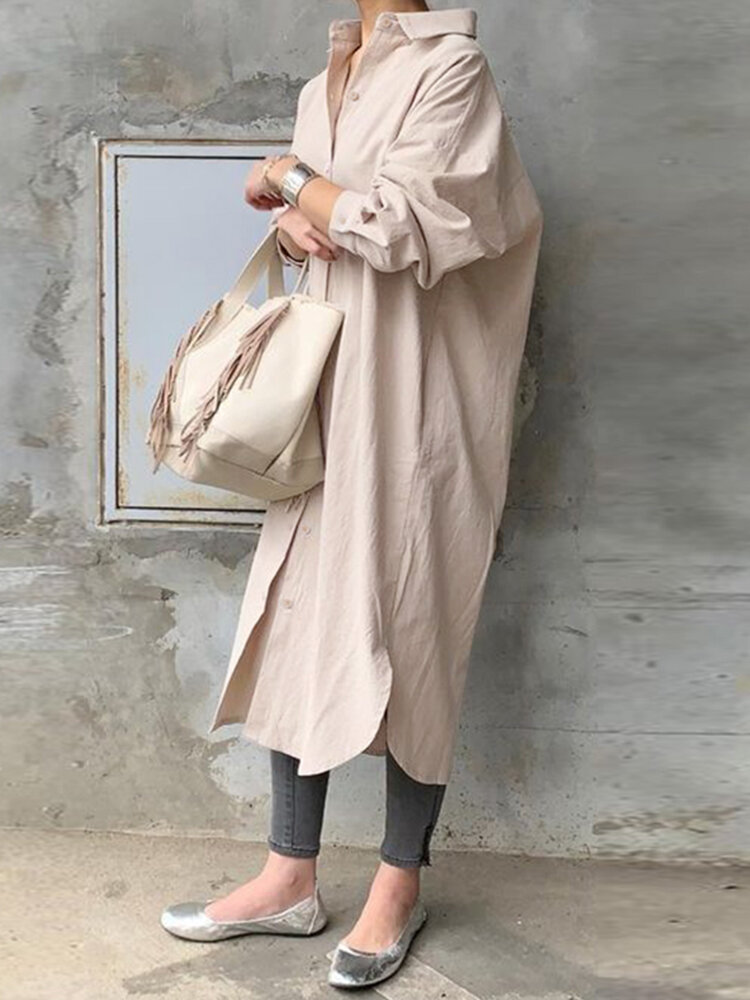 Solid Color Casual Long Sleeve Cotton Shirt Dress