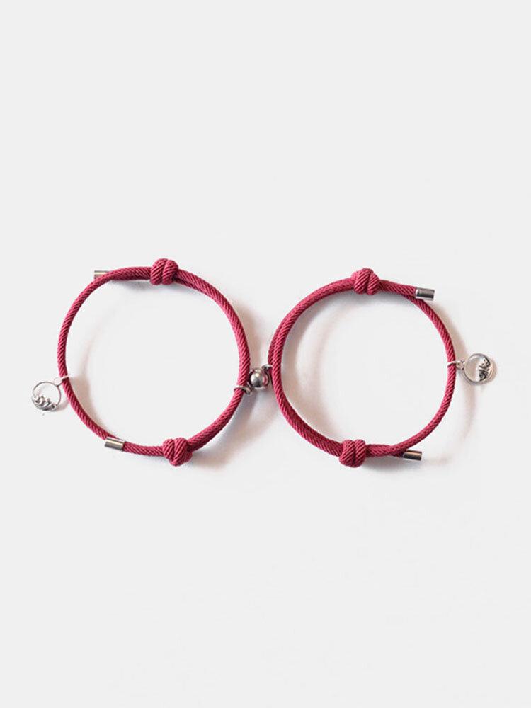 2 Pcs Mountain Alliance Eachother Pendant Couple Bracelets Set Magnetite Braided Hand Rope Bracelets