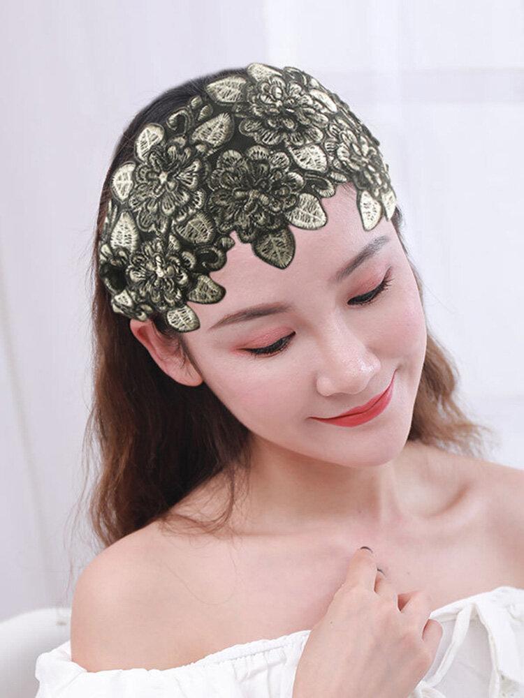 刺繍三次元エスニックスタイルのヘアバンド女性のファッションワイドつばのヘアバンド